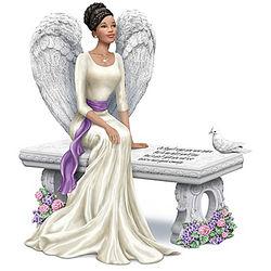 Heaven's Embrace Bereavement Angel Figurine on a Bench