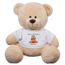 """11"""" Teddy Bear with Personalized Christmas Present T-Shirt"""