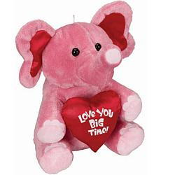 Valentine's Day Love You Big Time Pink Plush Elephant