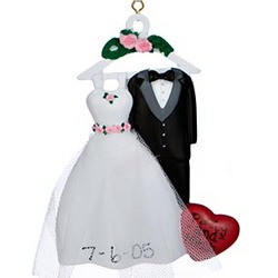 Wedding Dress & Tuxedo Personalized Christmas Ornament
