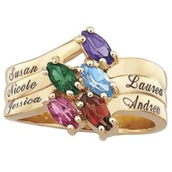 Family Marquise Birthstone Name Ring