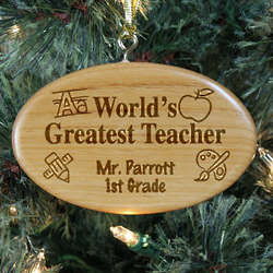 Engraved Teacher Wooden Oval Christmas Ornament
