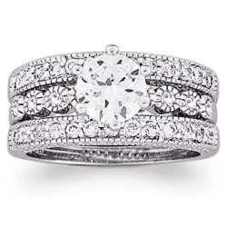 Silvertrone Three Piece Vintage Cubic Zirconia Wedding Ring