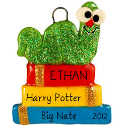 Personalized Handmade Dough Bookworm Ornament