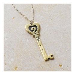 Swirled Heart Key Pendant