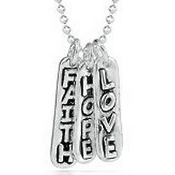 Sterling Silver Faith, Hope and Love Sentiments Pendant