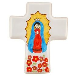 Our Lady of Guadalupe Small Ceramic Cross