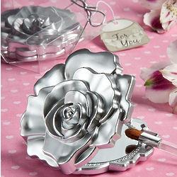 Realistic Rose Design Mirror Compact