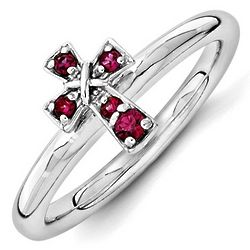 Sterling Silver July Birthstone Created Ruby Cross Ring