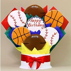 Happy Birthday Sports 7-Piece Cookie Bouquet