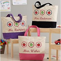 Personalized Apple for Teacher Tote Bag