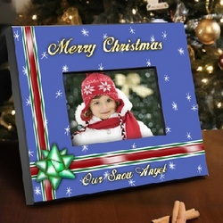 Personalized Blue Holiday Picture Frame