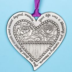 Pewter Heart Remembrance Ornament