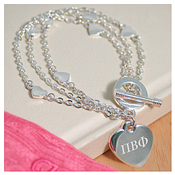 Triple Strand Heart Bracelet Personalized with Greek Letters