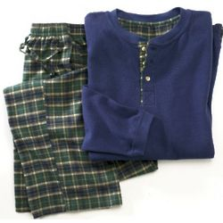Mens 2 Piece Plaid Lounge Set