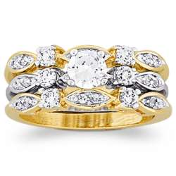 14 Karat Gold Plated Cubic Zirconia Two Piece Wedding Ring