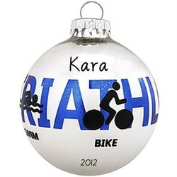 Personalized Triathlon Christmas Ornament