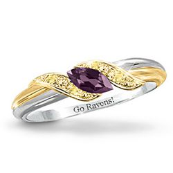 Pride Of Baltimore Amethyst Engraved Embrace Ring
