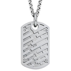 Gento Stainless Steel Bars Dog Tag Pendant