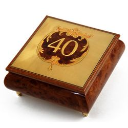 Handcrafted Happy 40th Musical Jewelry Box
