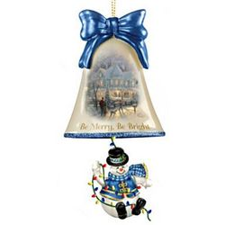 Thomas Kinkade Be Merry Be Bright Glass Bell Ornament