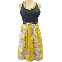 Yellow Floral Vintage-Inspired Apron