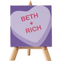 Conversation Heart Mini Personalized Canvas and Easel