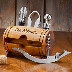 Personalized Wine Barrel Stand Wine Tool Set