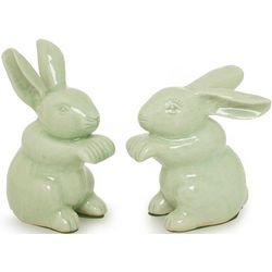 Pair of Celadon Ceramic Jade Bunny Rabbits