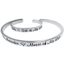 Sterling Silver Mother and Child Personalzied Cuff Bracelets