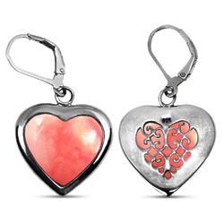 Heart Shaped Pink Opal Earrings in Silver