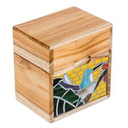 Hummingbird Delight Glass Mosaic Teakwood Decorative Box
