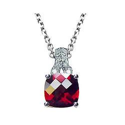 Checkerboard Garnet & Diamond Filigree Pendant