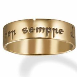 Il Mio Cuore e il Tuo Per Sempre 14k Gold Poesy Ring