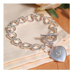 Heart Link Bracelet Personalized with Greek Letters