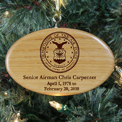 Personalized U.S. Air Force Memorial Wooden Oval Ornament