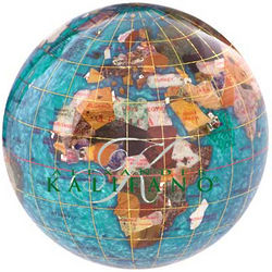 Bahama Blue Gemstone Globe Paperweight