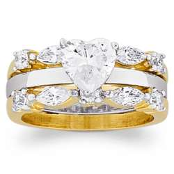 14K Gold Plated Cubic Zirconia Solitaire Heart Wedding Set