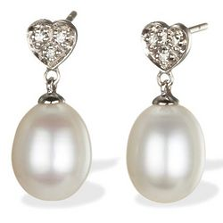 Diamond Heart & Pearl Drop Earrings in 14k White Gold
