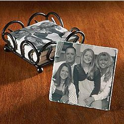 Personalized Tumbled Marble Photo Coasters