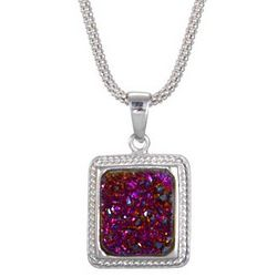 Sterling Silver Cabled Raspberry Drusy Pendant