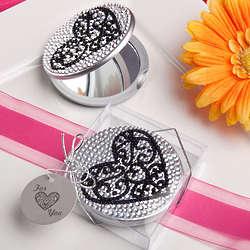 Ultra-glitzy Heart Design Mirror Compact