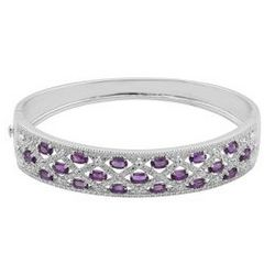 Amethyst Bangle with Diamond Accents in Sterling Silver