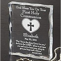 Personalized Communion or Confirmation Inscribed Blessing Block