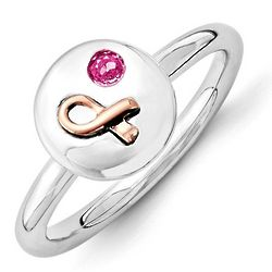 Breast Cancer Awareness Ribbon Ring with Pink Sapphire