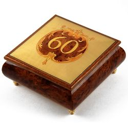 Handcrafted Happy 60th Musical Jewelry Box