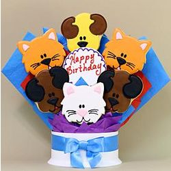Dog and Cat Happy Birthday 7-Piece Cookie Bouquet