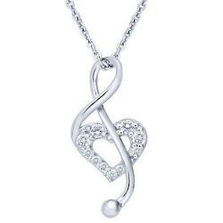 Sterling Silver & Cubic Zirconia Open Heart Music Note Pendant