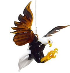 Bald Eagle Blown Glass Hanging Figurine