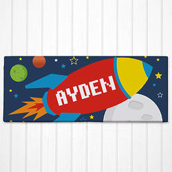 Kid's Personalized Spaceship Canvas Art Print
